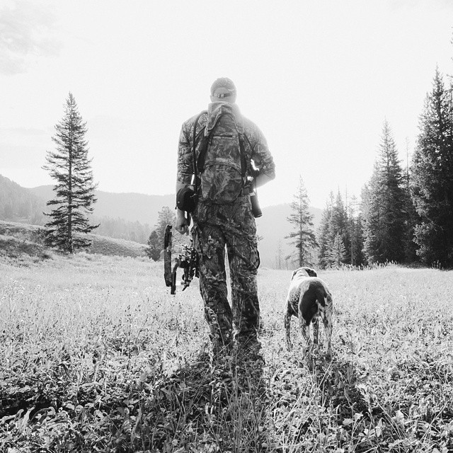 My dog Tobi and I bow hunting for elk in Montana.